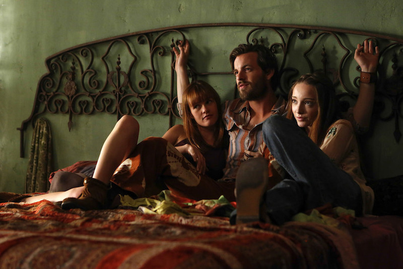 "AQUARIUS -- ""Never Say Never to Always"" Episode 103 -- Pictured: (l-r) Tara Lynne Barr as Katie, Gethin Anthony as Charles Manson, Emma Dumont as Emma Karn -- Photo by: (Vivian Zink/NBC)"