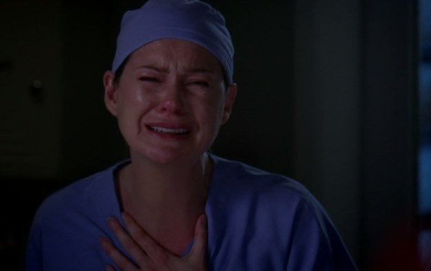 meredith crying